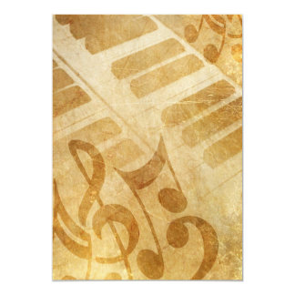 MUSICAL GRUNGE NOTES PIANO BACKGROUNDS FADED VINTA CARD