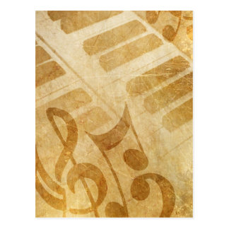 MUSICAL GRUNGE NOTES PIANO BACKGROUNDS FADED VINTA POSTCARD