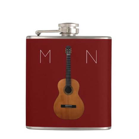 Musical Guitar Monogram Red Personalized Flask