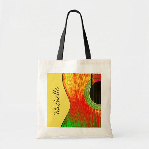 Musical Guitar Script Typography Red Yellow Budget Tote Bag