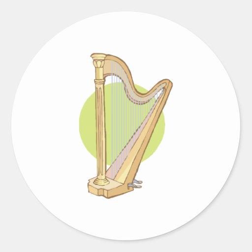 musical harp classic round sticker
