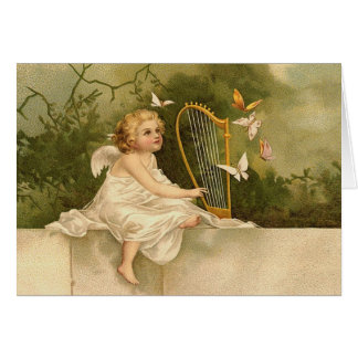 Musical Harp Fairy Card
