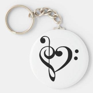 Musical Heart Basic Round Button Keychain