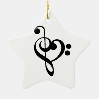 Musical Heart - Entwined Treble and Bass Clefs Ceramic Ornament