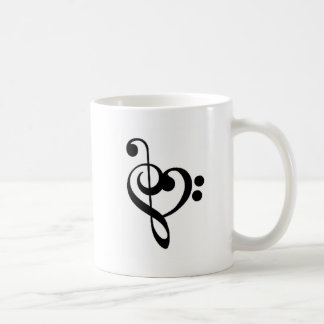 Musical Heart - Entwined Treble and Bass Clefs Coffee Mug