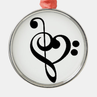 Musical Heart - Entwined Treble and Bass Clefs Metal Ornament