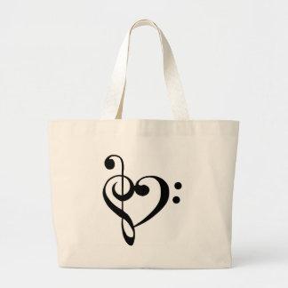 Musical Heart Large Tote Bag