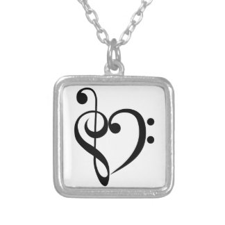 Musical Heart Silver Plated Necklace