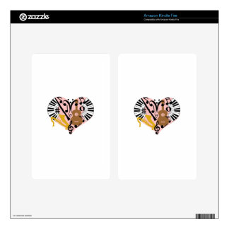 Musical Heart Skin For Kindle Fire