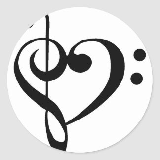 Musical Heart Round Stickers