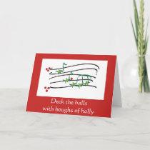 Musical Holly 2 contemporary Christmas card