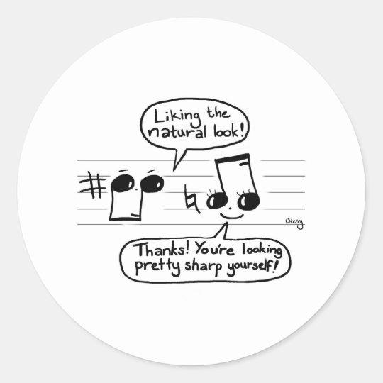 Musical Humour Cartoon Classic Round Sticker