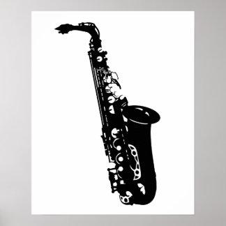 Musical instrument saxophone musicians designs poster