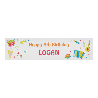 Musical Instruments Kids Birthday Party Banner Poster