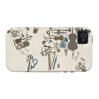 Musical Instruments Map of the World Vibe iPhone 4 Covers