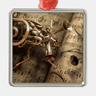 Musical instruments square metal christmas ornament