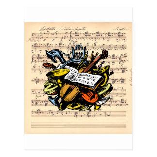 Musical Instruments Rossini Sheet Music Background Postcard