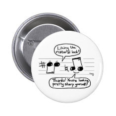 Musical Joke Cartoon Pinback Button at Zazzle