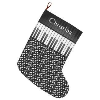 Musical Keyboard Design Large Christmas Stocking