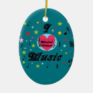 Musical Lifetimes 'I Love Music' Hanging Oval Ceramic Ornament