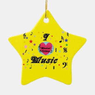 Musical Lifetimes 'I Love Music' Hanging Star Ceramic Ornament