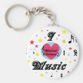 Musical Lifetimes 'I Love Music' Key Ring Basic Round Button Keychain