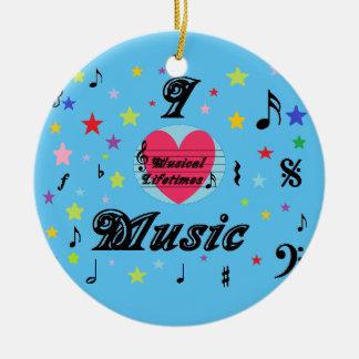 Musical Lifetimes 'I Love Music' Round Decoration Ceramic Ornament