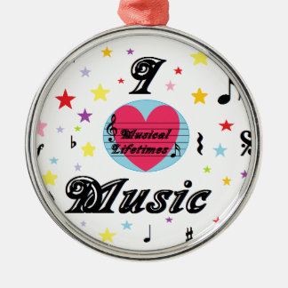 Musical Lifetimes 'I Love Music' Round Decoration Metal Ornament