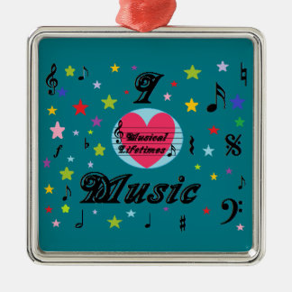Musical Lifetimes 'I Love Music' Square Decoration Metal Ornament