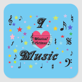 Musical Lifetimes 'I Love Music' Square Sticker