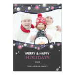 """Musical Lights Unique Holiday Family Photo Cards 5"""" X 7"""" Invitation Card"""