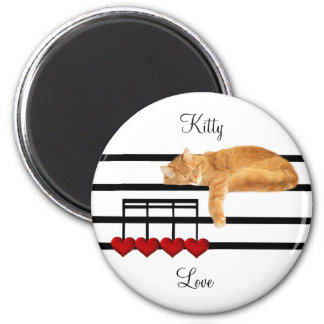 Musical love kitty cat 2 inch round magnet