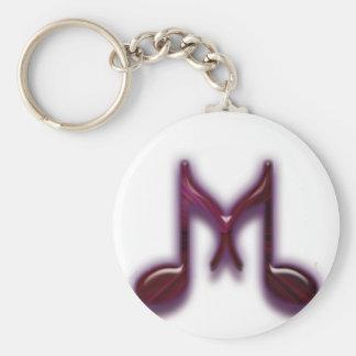 "Musical ""M"" Letter Basic Round Button Keychain"