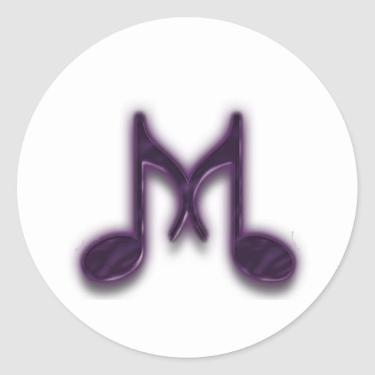 "Musical ""M"" Letter Classic Round Sticker"