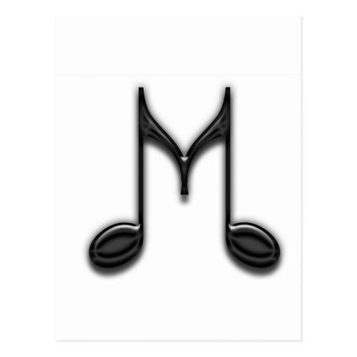 """Musical """"M"""" Letter Postcard   Zazzle"""