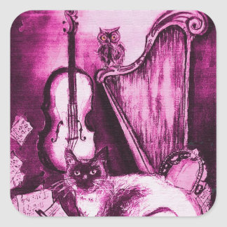 MUSICAL MAKING CAT AND OWL Pink Purple White Square Sticker