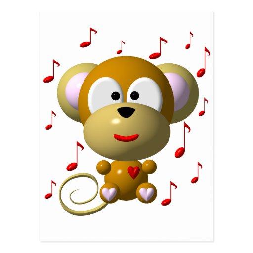 Musical monkey postcards