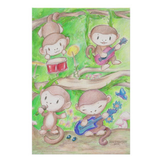 Musical Monkeys Poster Print