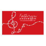Musical Music Treble Love Red Hearts Artist Song Business Card Template