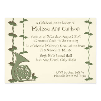 Musical Nature/ French Horn 5x7 Paper Invitation Card