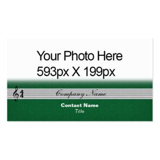 Musical Notation feathered Your Photo/Logo green Double-Sided Standard Business Cards (Pack Of 100)