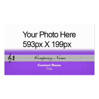 Musical Notation feathered Your Photo/Logo purple Double-Sided Standard Business Cards (Pack Of 100)