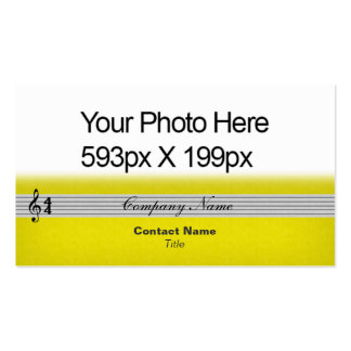 Musical Notation feathered Your Photo/Logo yellow Double-Sided Standard Business Cards (Pack Of 100)