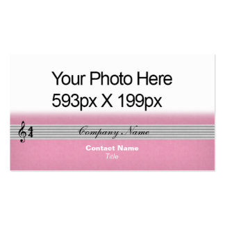 Musical Notation feathered Your Photo or Logo pink Double-Sided Standard Business Cards (Pack Of 100)