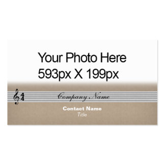 Musical Notation feathered Your Photo or Logo tan Double-Sided Standard Business Cards (Pack Of 100)