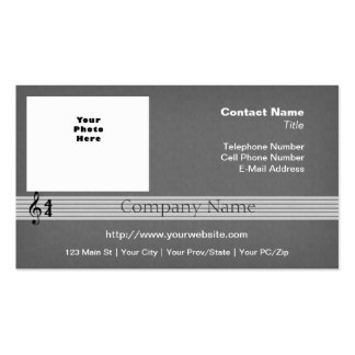 Musical Notation grey with Your Photo or Logo Double-Sided Standard Business Cards (Pack Of 100)