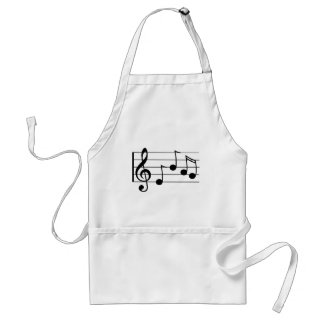 Musical notation treble clef and staff adult apron