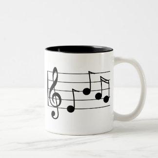 Musical notation treble clef and staff Two-Tone coffee mug