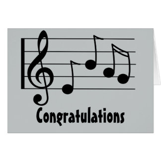 Musical notation treble clef congratulations greeting card
