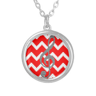 Musical note - Abstract geometric pattern - red. Silver Plated Necklace